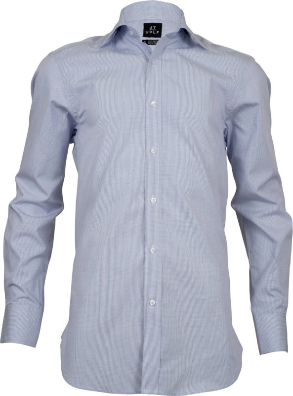 classic fit check blue business shirts front