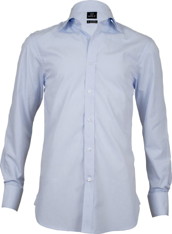 classic fit check pale blue business shirts front