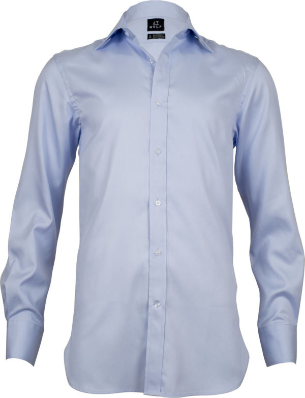 classic fit pale blue solid business shirts front