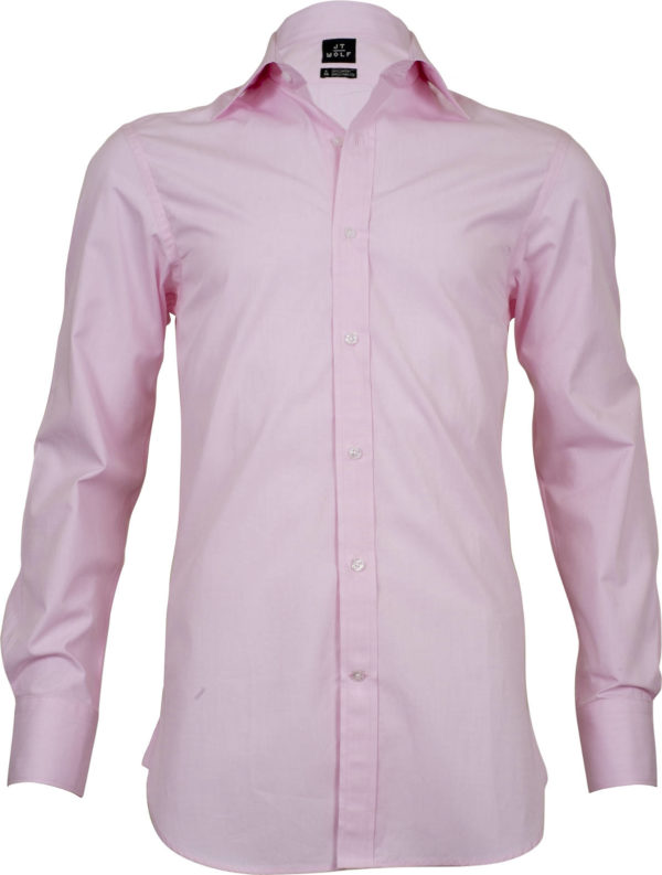 classic fit solid pink business shirts front