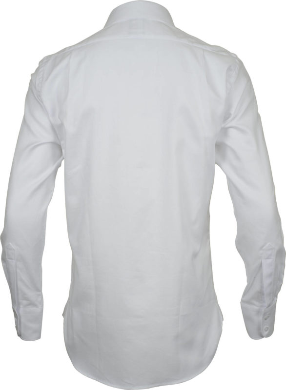 classic fit solid white business shirts back