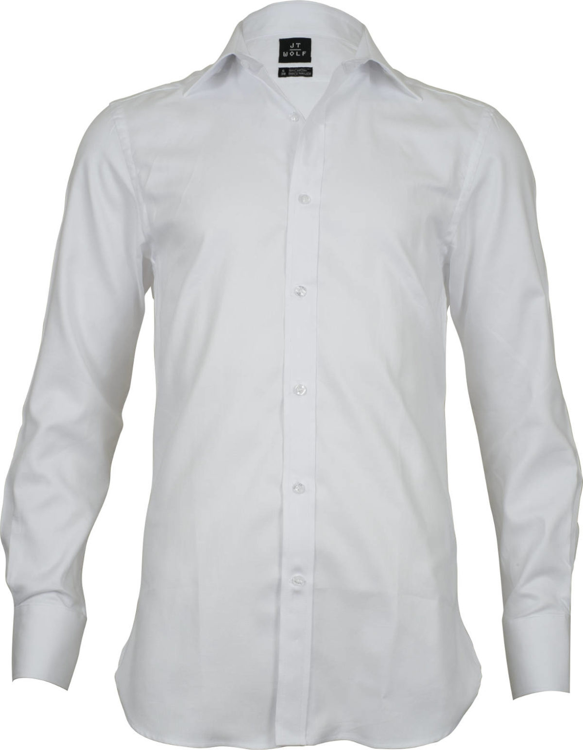 classic fit solid white business shirts front