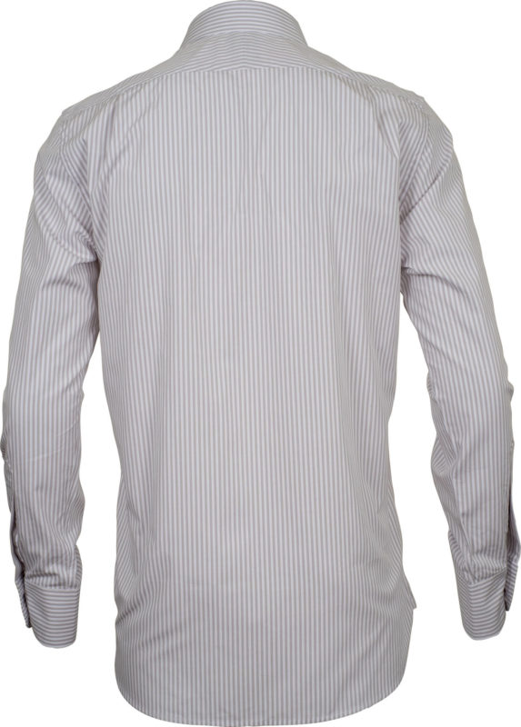 classic fit stripe beige business shirts back