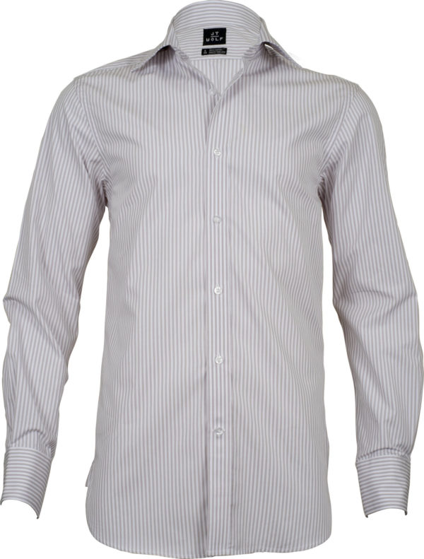 classic fit stripe beige business shirts front