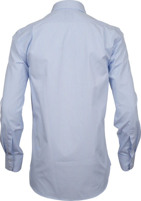 classic fit stripe light blue business shirts back