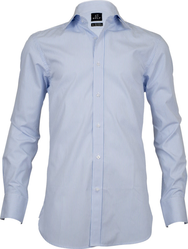 classic fit stripe light blue business shirts front