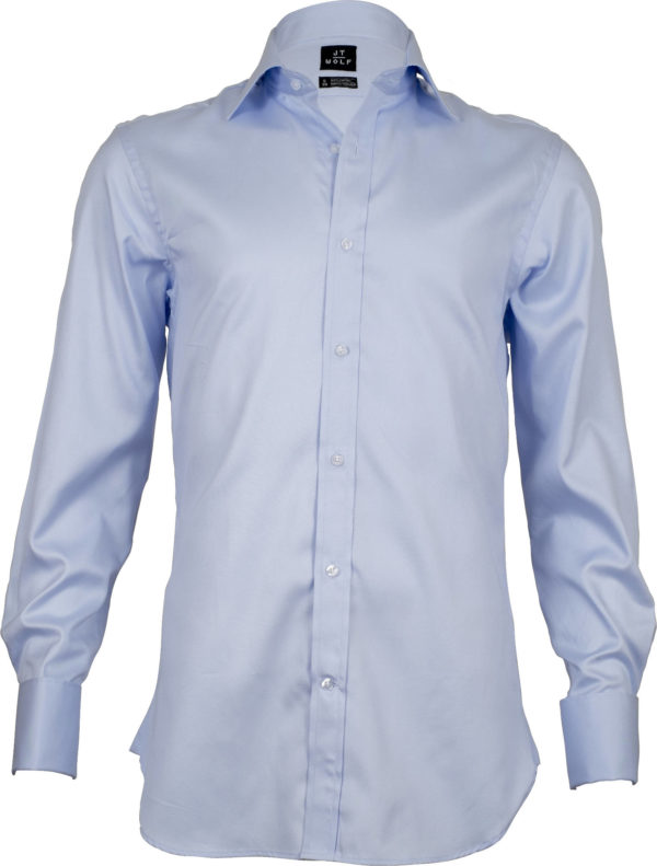 french cuff solid pale blue business shirts front