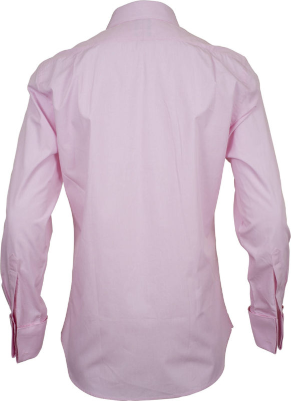 french cuff solid pink business shirts back