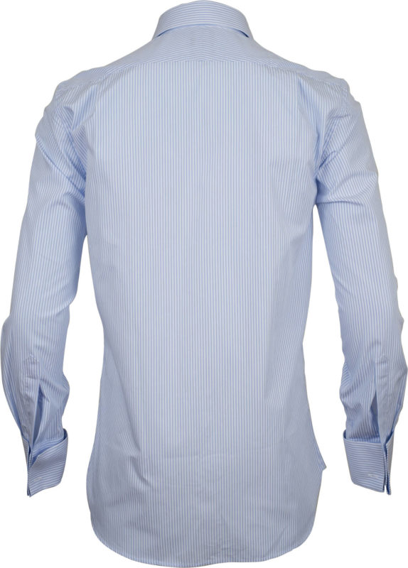 french cuff stripe light blue business shirts back