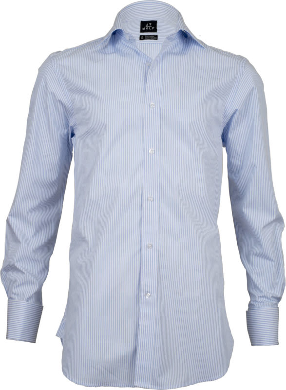 french cuff stripe light blue business shirts front