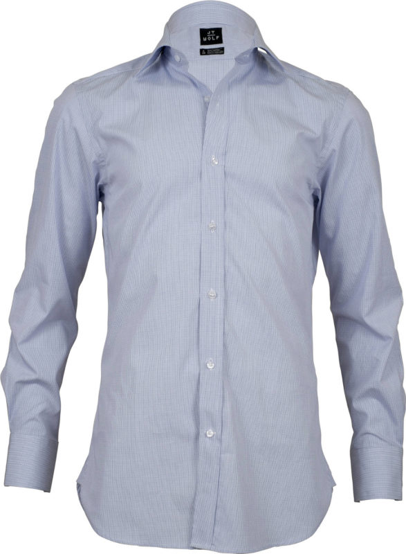 slim fit check pale blue business shirts front