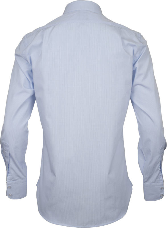 slim fit check pale blue business shirts back