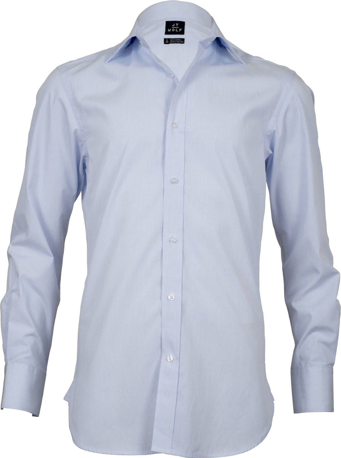 Slim fit pale blue check business shirts jt wolf for Slim fit check shirt