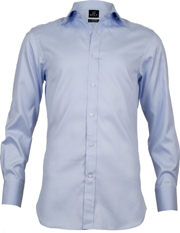 slim fit pale blue solid business shirts front