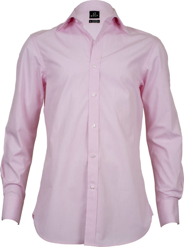 slim fit solid pink business shirts front