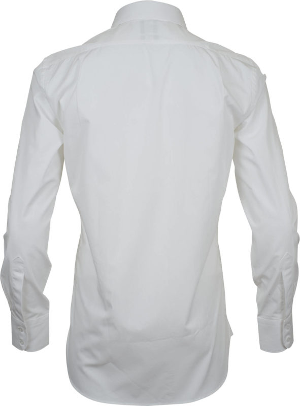 slim fit solid white business shirts back