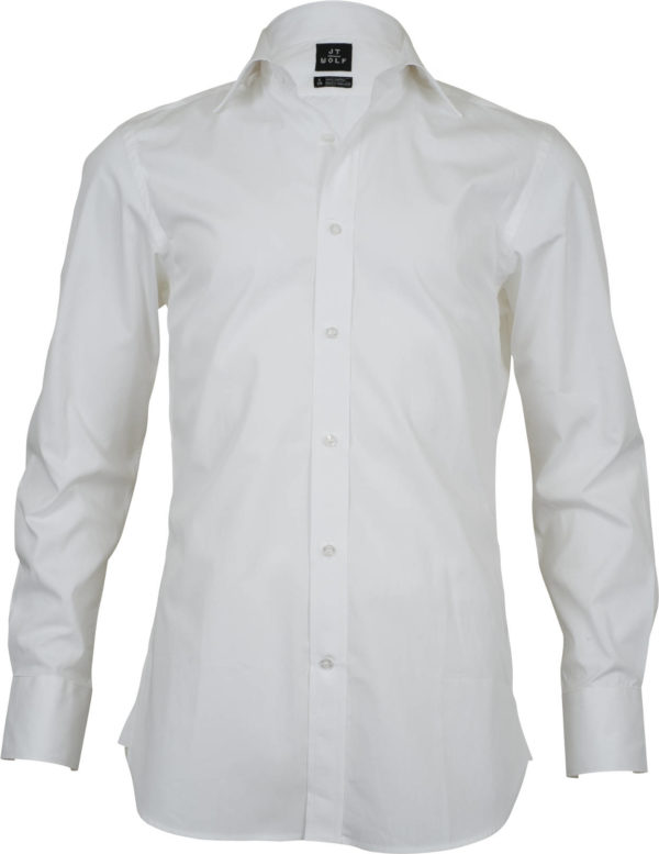 slim fit solid white business shirts front