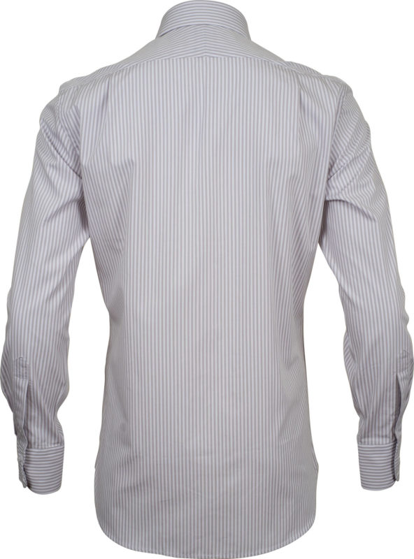 slim fit stripe beige business shirts back