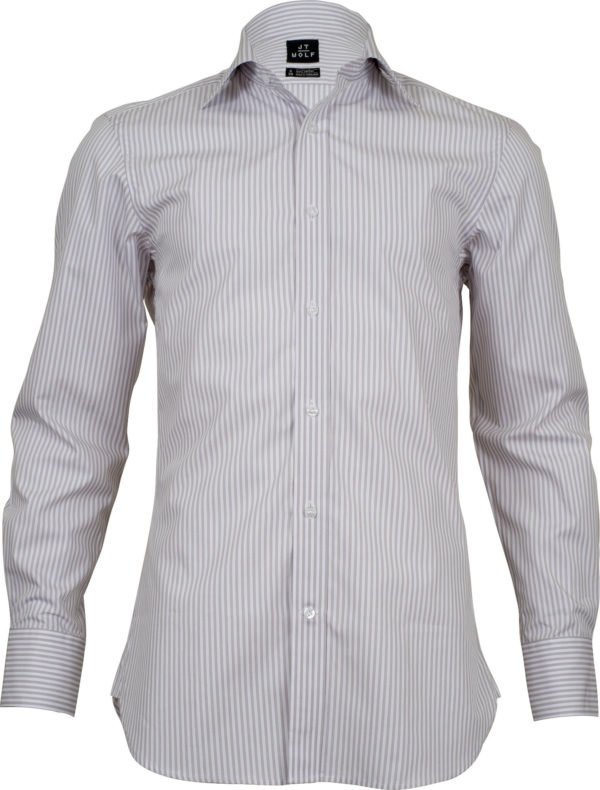 slim fit stripe beige business shirts front