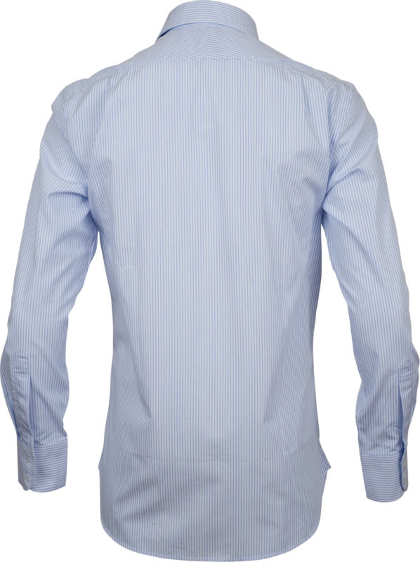 slim fit stripe light blue business shirts back