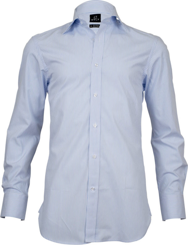 slim fit stripe light blue business shirts front